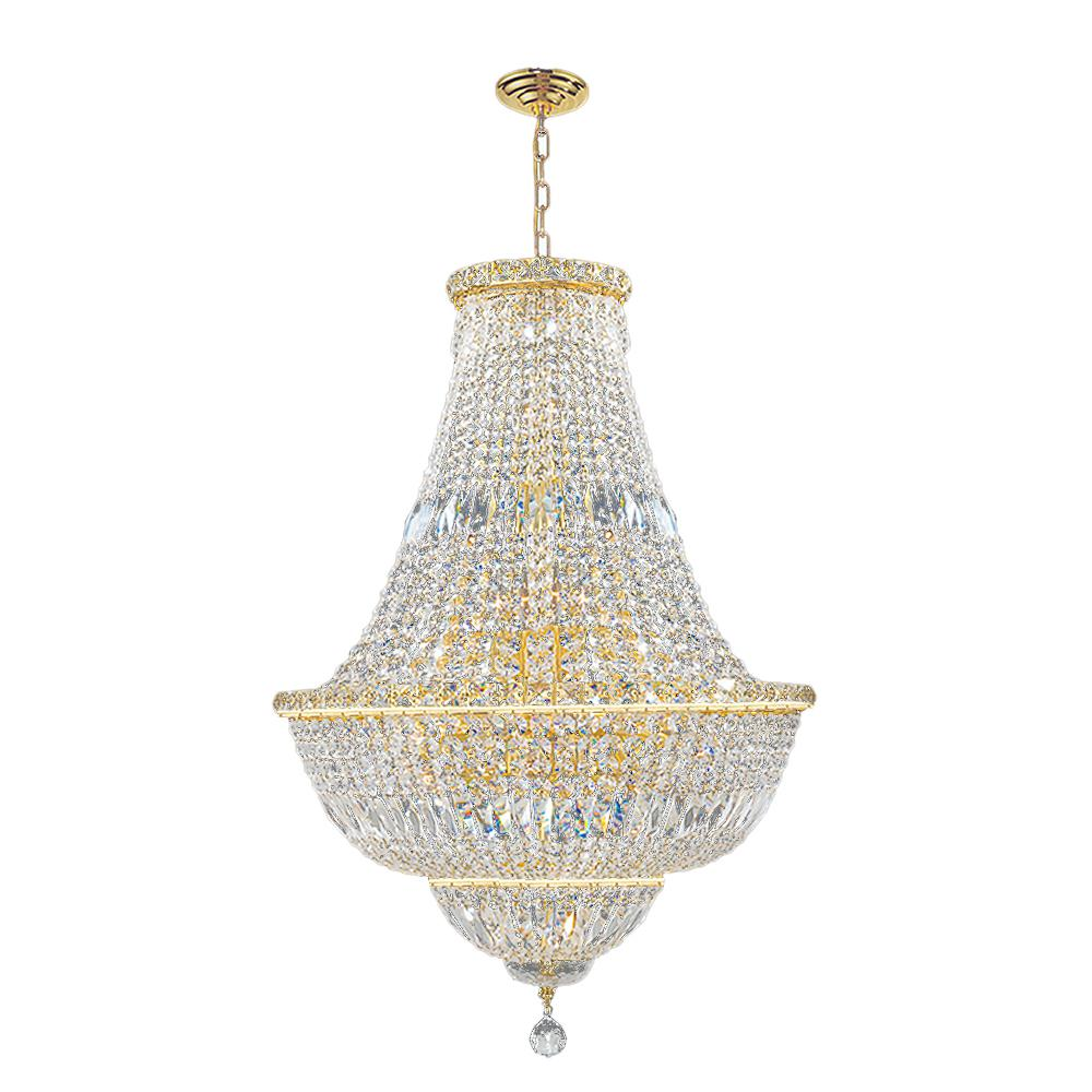 Worldwide Lighting Empire Collection 22-Light Polished Gold and Crystal Chandelier