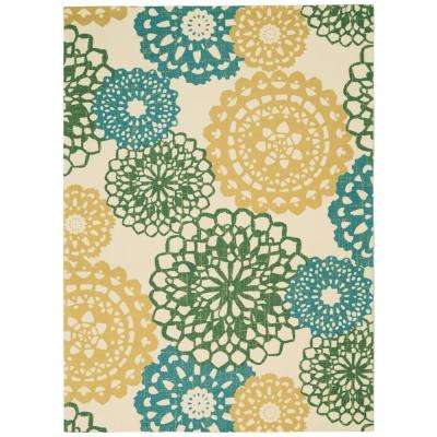 Sun N Shade Ornate Medallion Ivory Gold 5 ft. 3 in. x 7 ft. 5 in. Area Rug