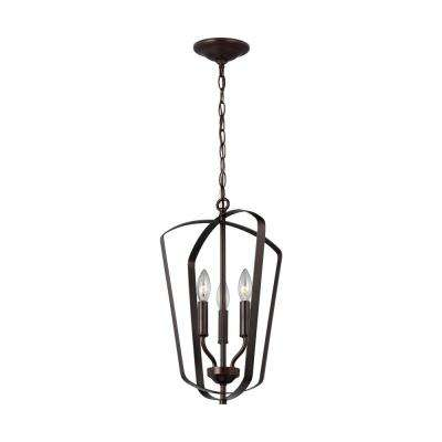 Romee 3-Light Heirloom Bronze Hall-Foyer Pendant with Dimmable Candelabra LED Bulb