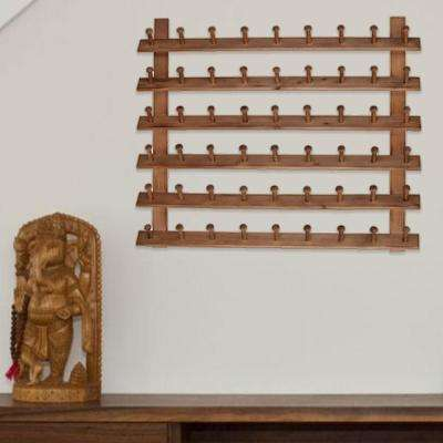 Classic Brown Wooden Wall Hanger Rack with Multiple Hooks