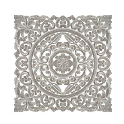 Distressed White Square Shape Wooden Wall Panel with Traditional Carvings
