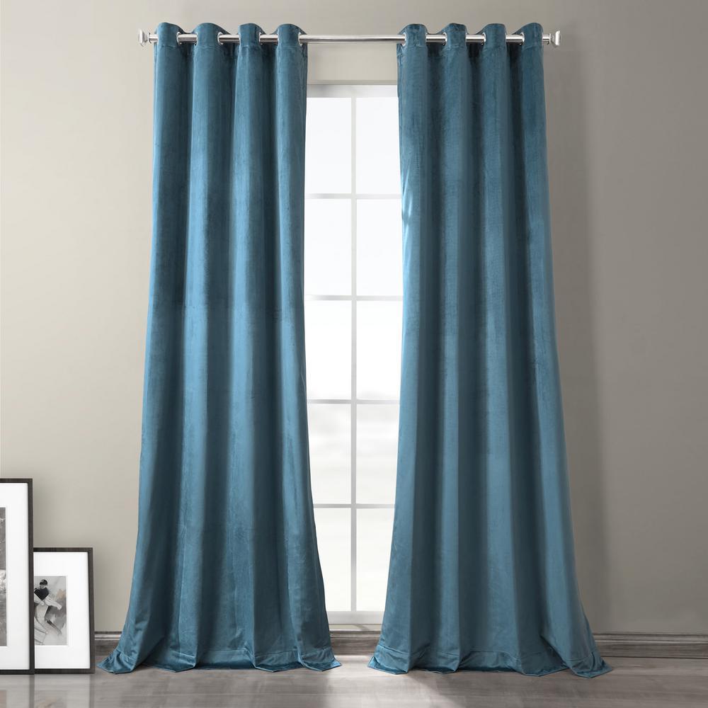 Caspian Blue Plush Velvet Hotel Blackout Grommet Curtain - 50 in. W x 84 in. L (1 Panel)