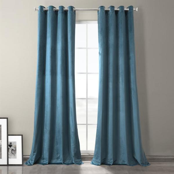Caspian Blue Plush Velvet Hotel Blackout Grommet Curtain - 50 in. W x 96 in. L (1 Panel)