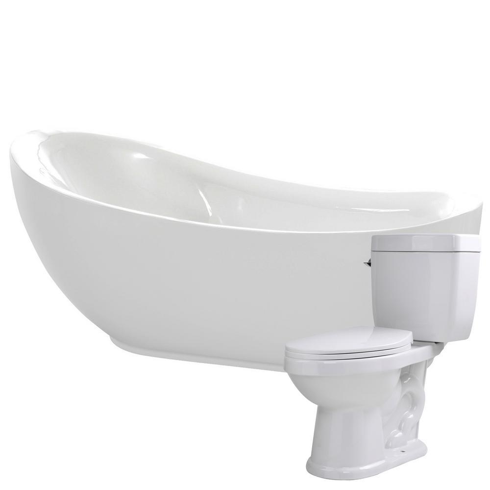 Talyah 71 in. Acrylic Flatbottom Non-Whirlpool Bathtub with Talos 2-Piece 1.6 GPF Single Flush Toilet