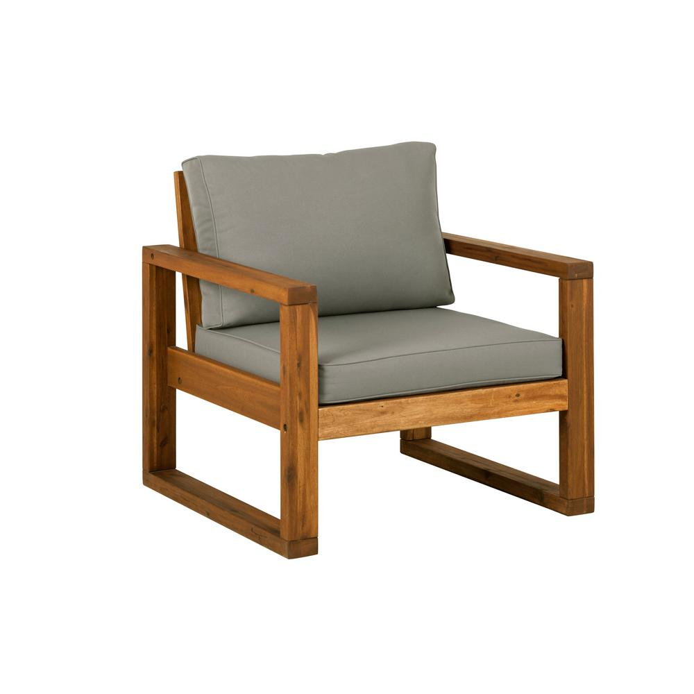 brown open side acacia wood outdoor lounge chair with ottoman and