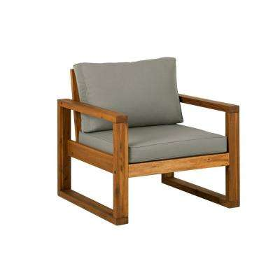 wood patio furniture. Brown Open Side Acacia Wood Outdoor Lounge Chair With Ottoman And Gray Cushion Patio Furniture