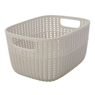 Sailor Knot 6 in. x 9 in. Medium Storage Basket in 2-Tone Ivory