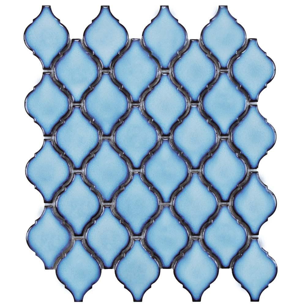 Merola Tile Arabesque Aella Porcelain Mosaic Tile - 6 in. x 6 in. Tile Sample