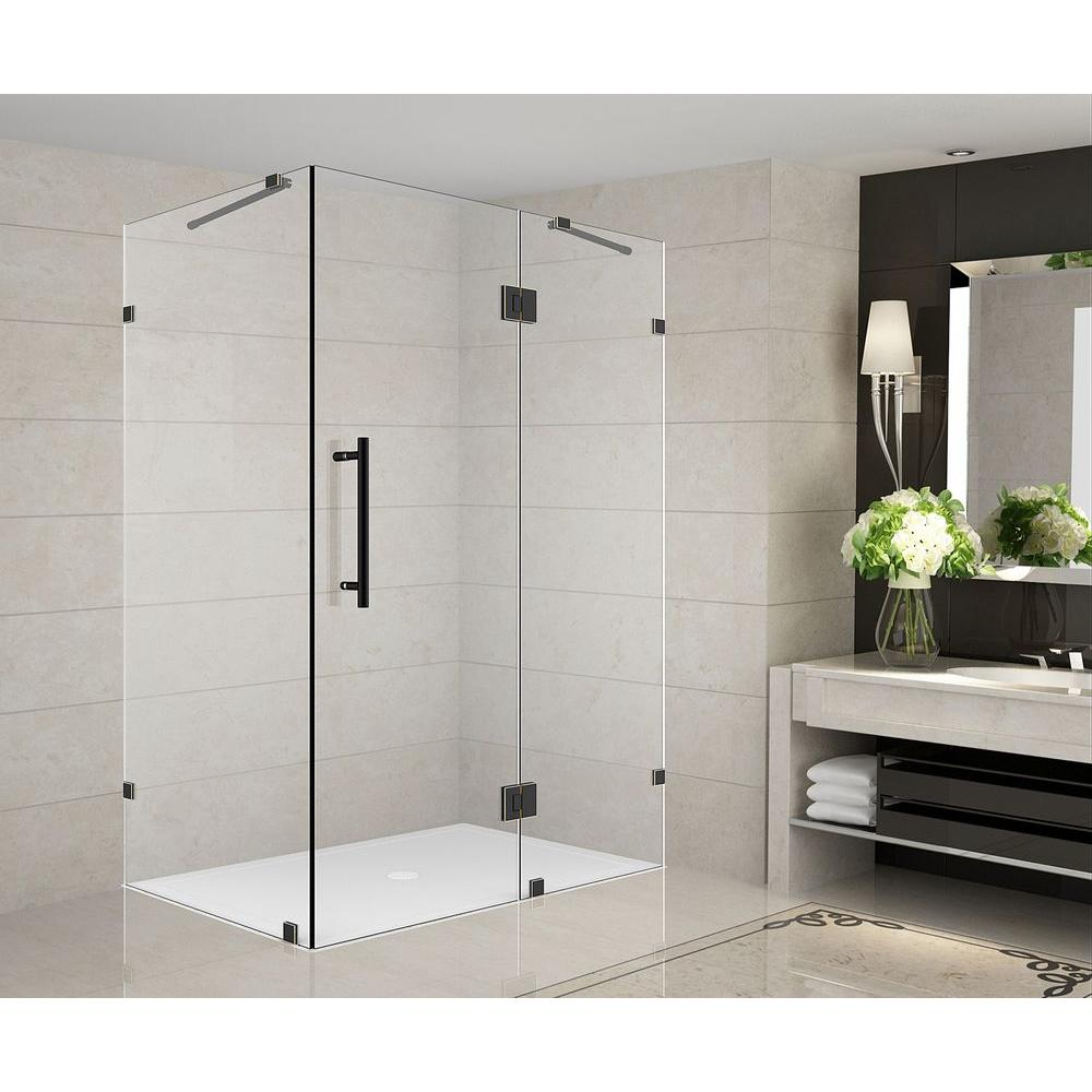 Frameless Shower Doors.Aston Avalux 42 In X 38 In X 72 In Completely Frameless Shower Enclosure In Oil Rubbed Bronze