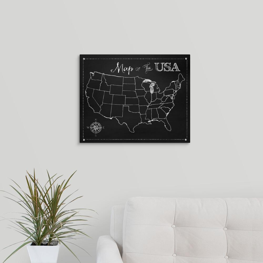 Greatbigcanvas Chalkboard Us Map By Tina Lavoie Canvas Wall Art