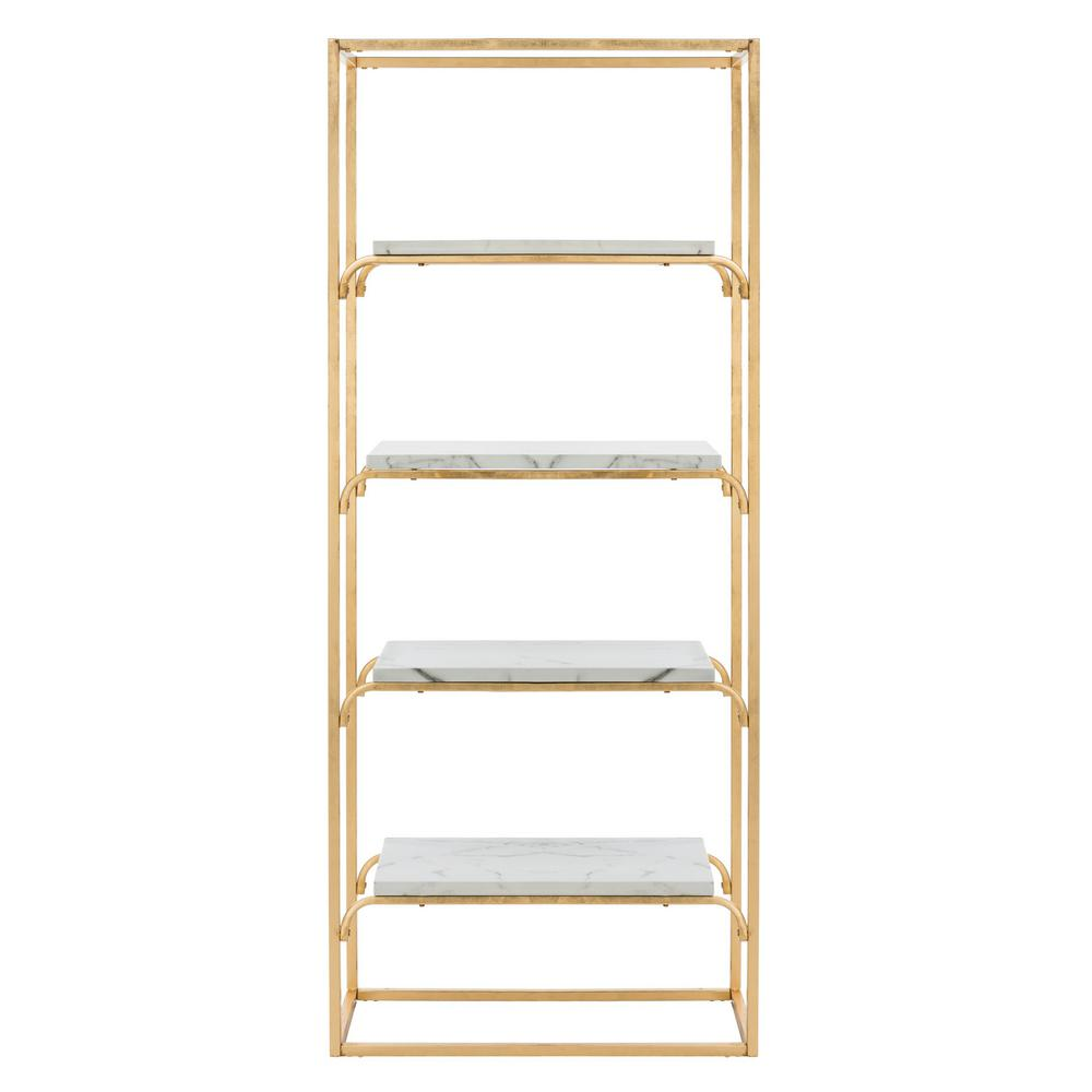 72 in. Gold/White Metal 4-shelf Etagere Bookcase with Open Back