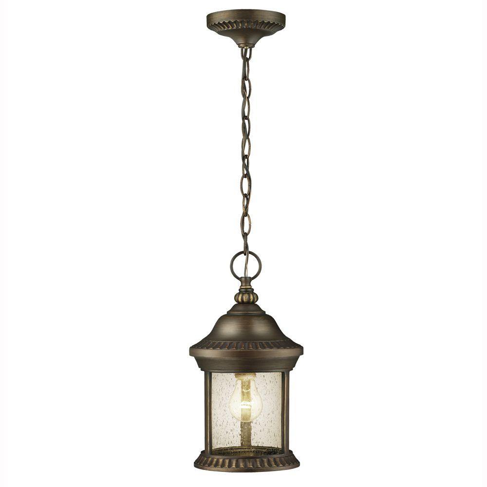 Hampton Bay Cambridge 1-Light Outdoor Essex Bronze Hanging Lantern