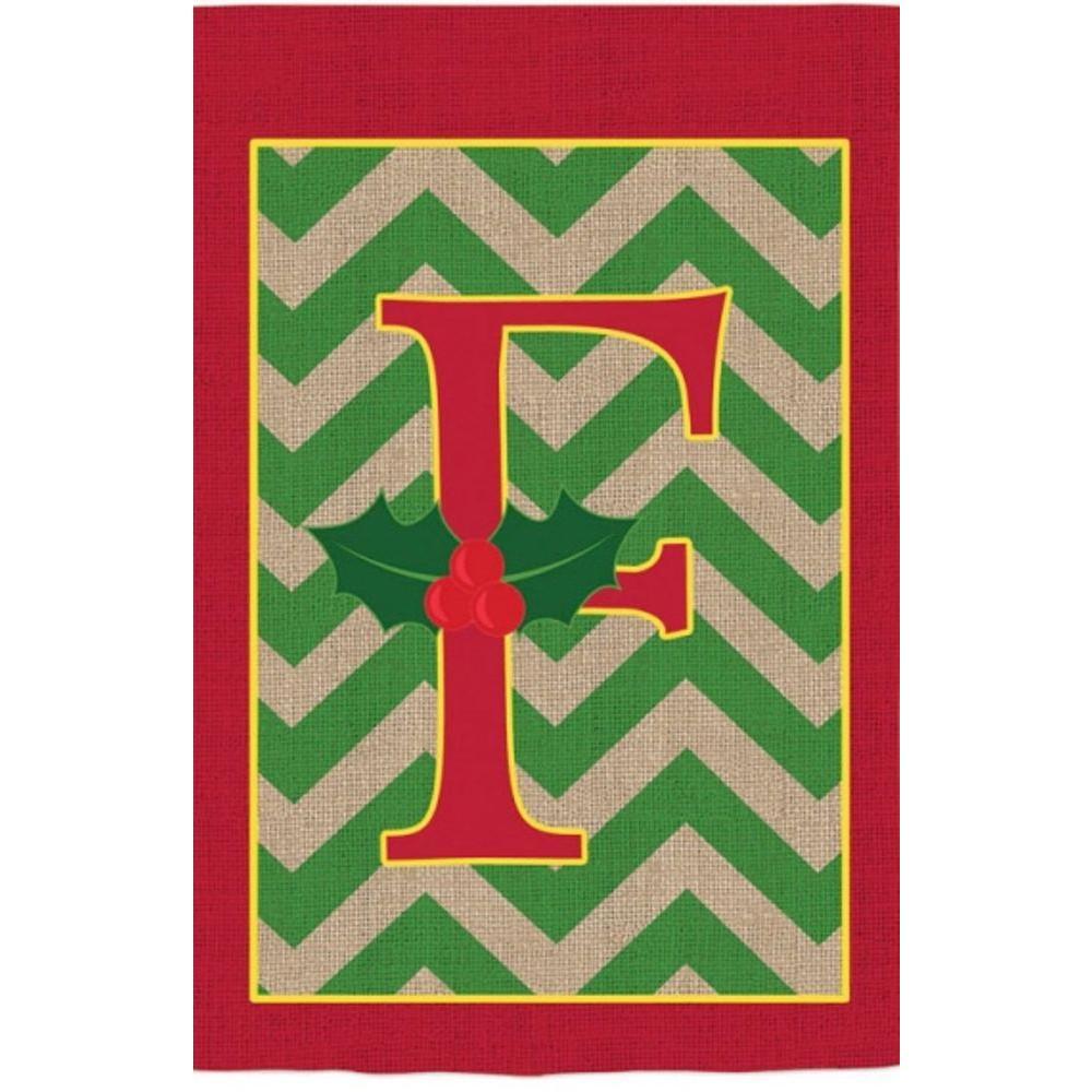 Monogrammed F Holly Burlap Garden Flag