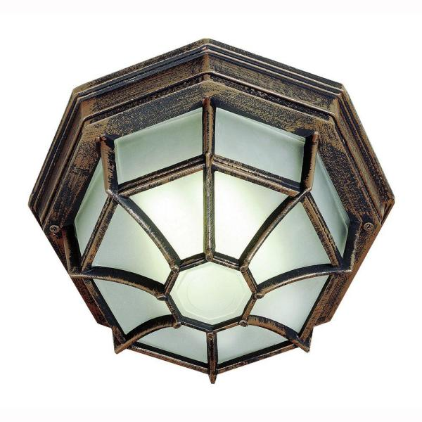 Web 1-Light Outdoor Rust Ceiling Fixture with Frosted Glass