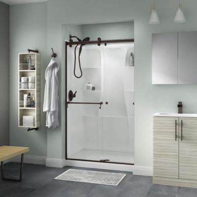 Portman 48 in. x 71 in. Semi-Frameless Contemporary Sliding Shower Door in Bronze with Clear Glass