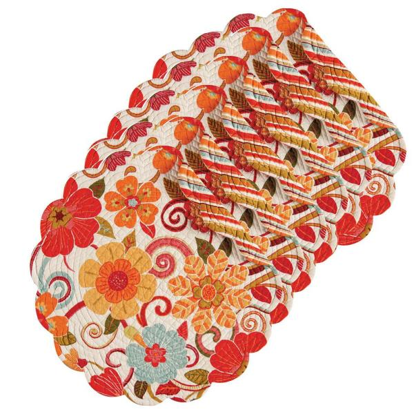 C & F Home Giselle Orange Round Placemat (Set of 6)