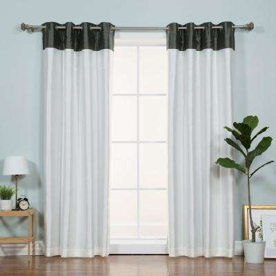 84 in. L Ivory Faux Silk Black Top Border Blackout Curtain
