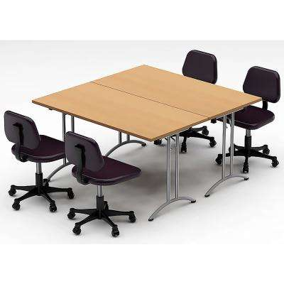 2-Piece Color Natural Beech Conference Tables Meeting Tables Seminar Tables Compact Space Maximum Collaboration