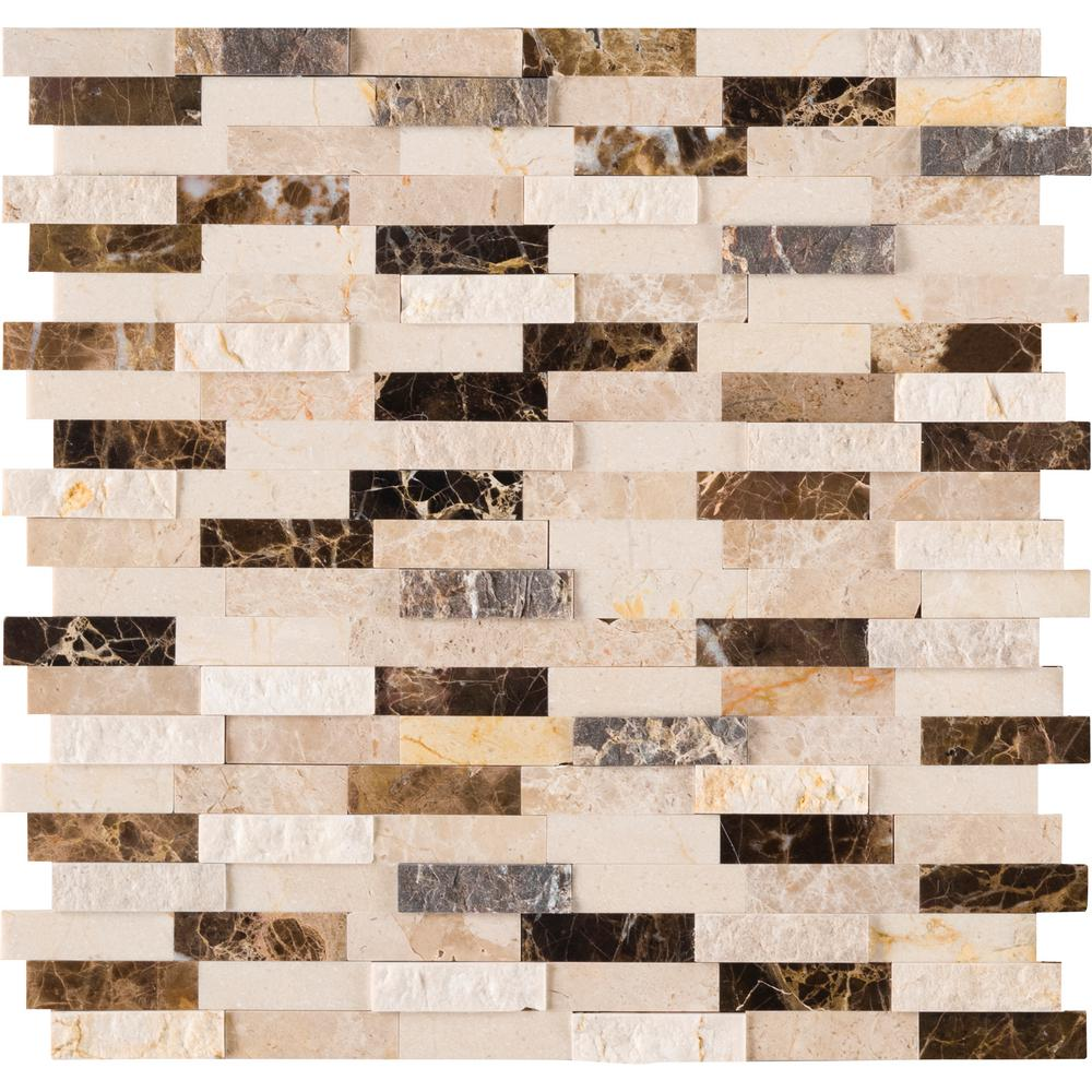 MSI Emperador Blend Split Face Peel and Stick 12 in. x 12 in. x 6mm Marble Mesh-Mounted Mosaic Tile (15 sq. ft. / case)