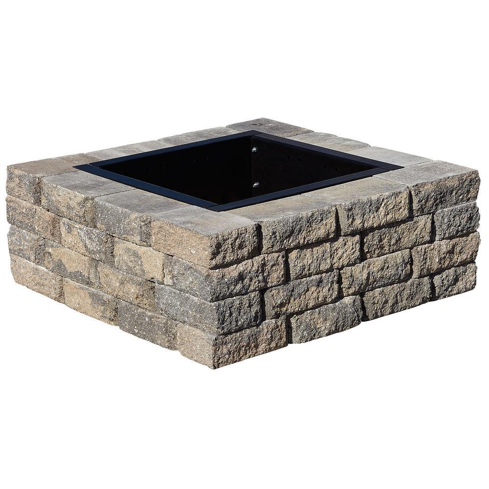 SplitRock 38.5 in. W x 14 in. H Square Fire Pit Kit in Charcoal/Tan