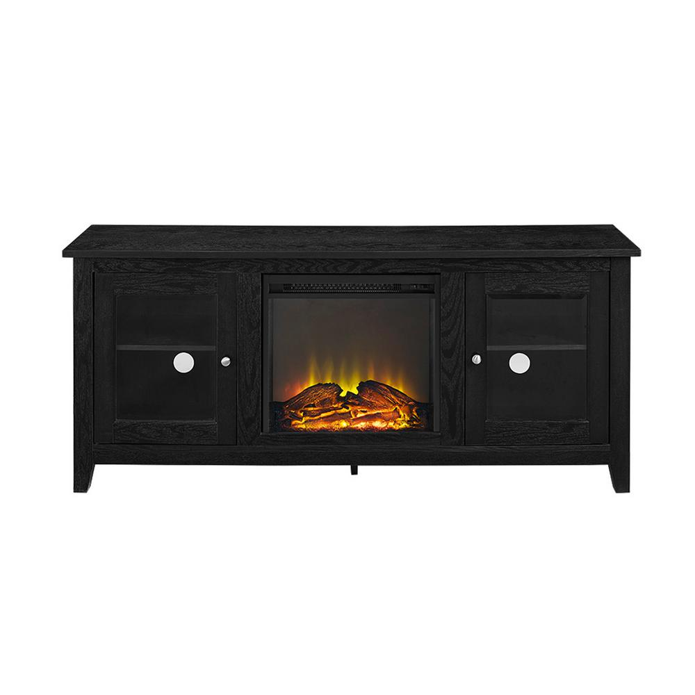 walker edison furniture company 58 in wasatch electric fireplace tv stand in black. Black Bedroom Furniture Sets. Home Design Ideas