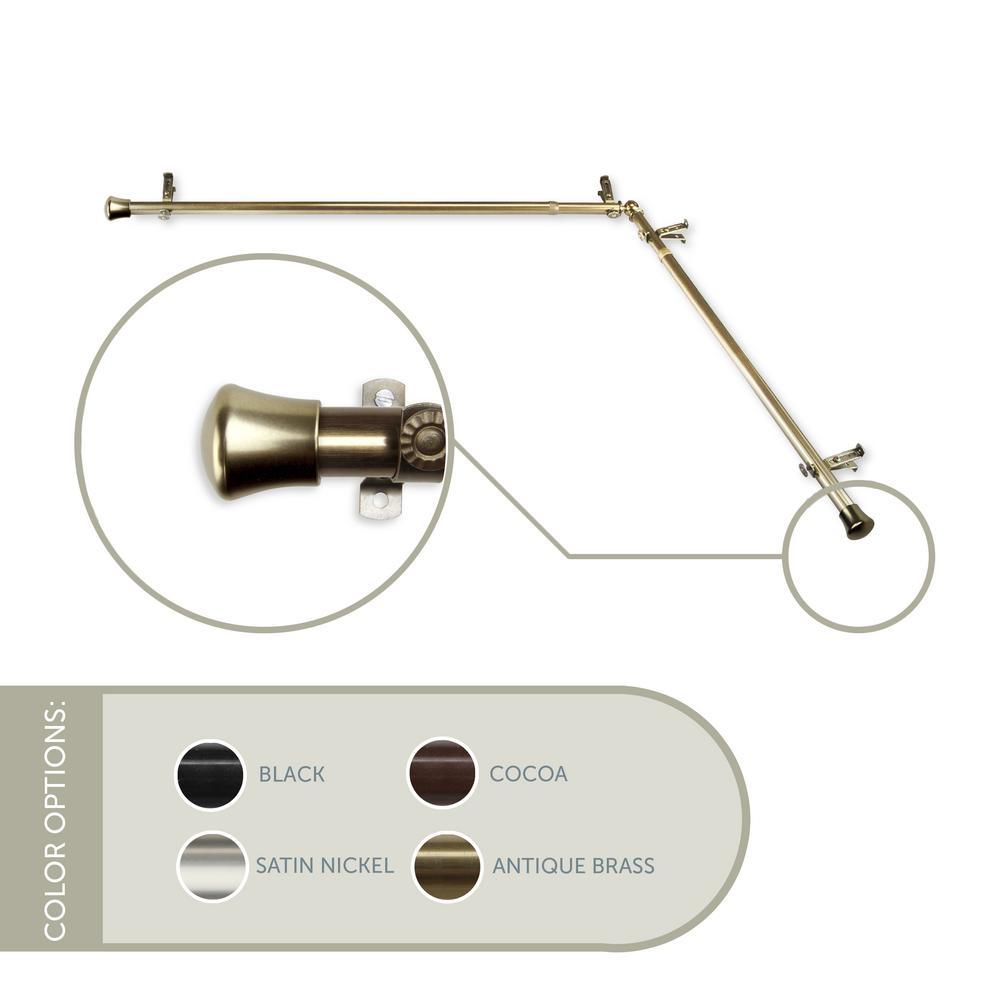 48 in. - 84 in., 13/16 in. Dia Single Corner Curtain Rod Each Side in Antique Brass