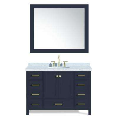 Cambridge 49 in. W x 22 in. D Vanity in Midnight Blue with Marble Vanity Top in White with White Basin and Mirror