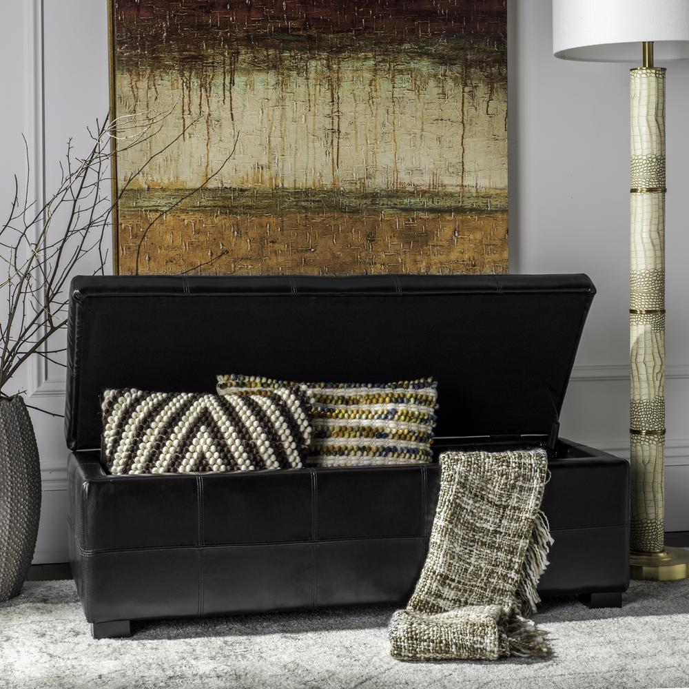 Safavieh Kerrie Black Storage Bench HUD8229B