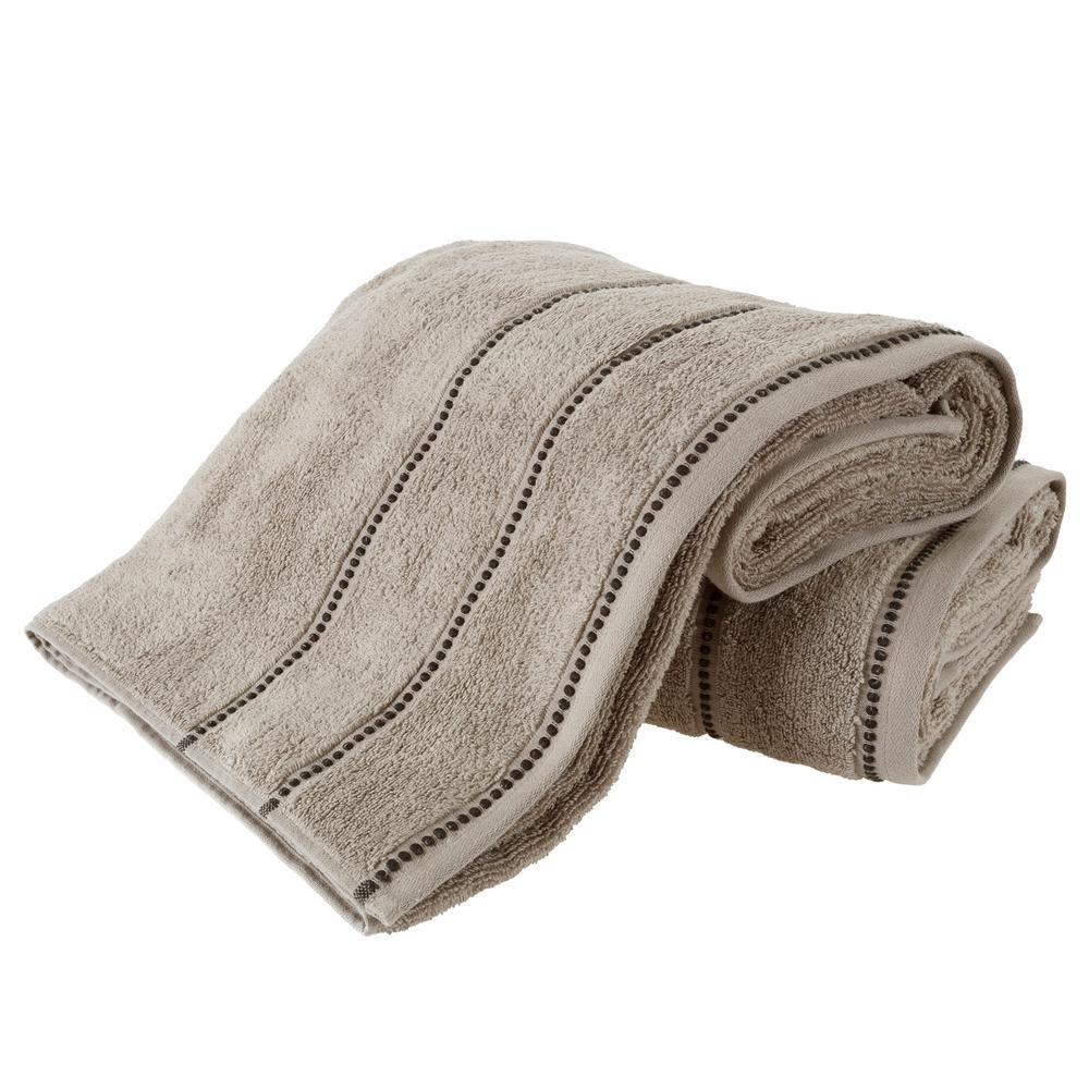 100% Zero Twist Cotton Bath Sheet Set in Taupe and Black (2-Piece)