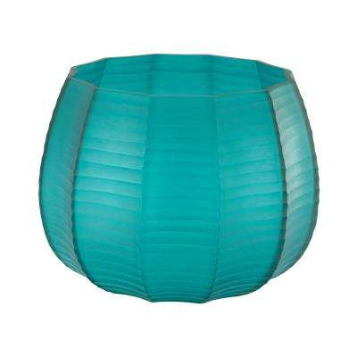 Stacked Cuts 7 in. Glass Decorative Vase in Teal
