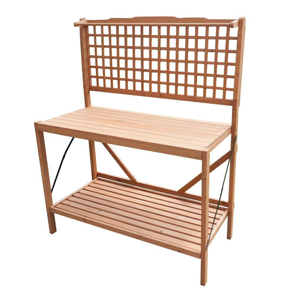 Northbeam Natural Wood Folding Potting Bench