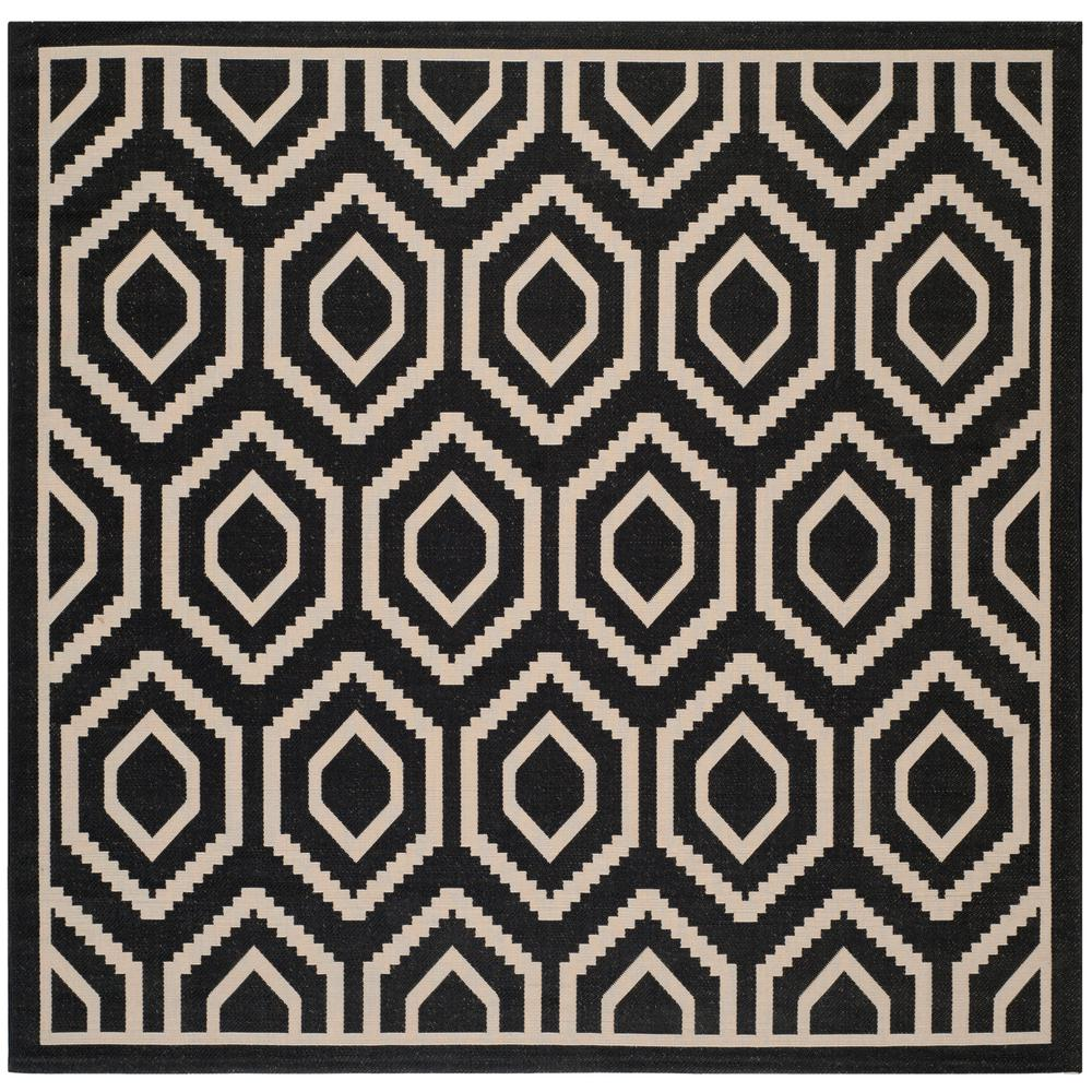 Courtyard Black/Beige 8 ft. x 8 ft. Indoor/Outdoor Square Area Rug