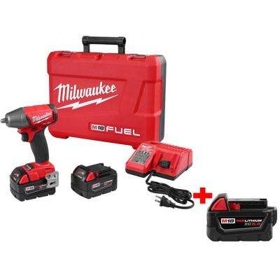 M18 FUEL 18-Volt Lithium-Ion Cordless Brushless 3/8 in. Impact Wrench Kit with Free M18 18-Volt XC 5.0Ah Battery