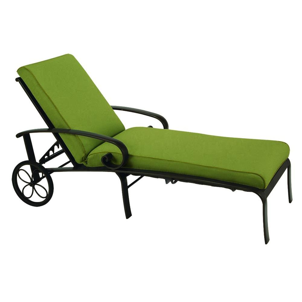 Tradewinds Valle Vista Citron Canvas and Textured Pewter Chaise-DISCONTINUED