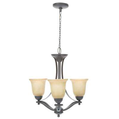3-Light Rustic Iron Chandelier with Antique Ivory Glass Shades