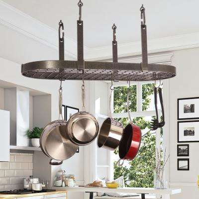 Hammered Steel Hanging 4-Point Oval Pot Rack