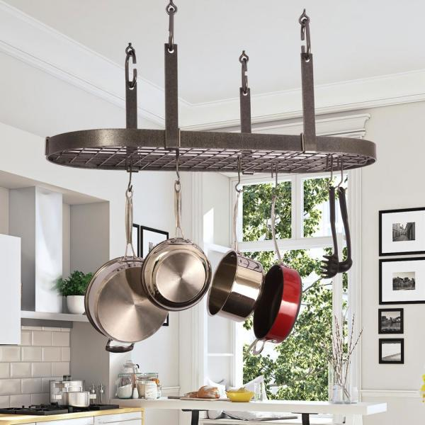 Enclume Handcrafted Four Point Oval Ceiling Pot Rack With 18 Hooks Hammered Steel