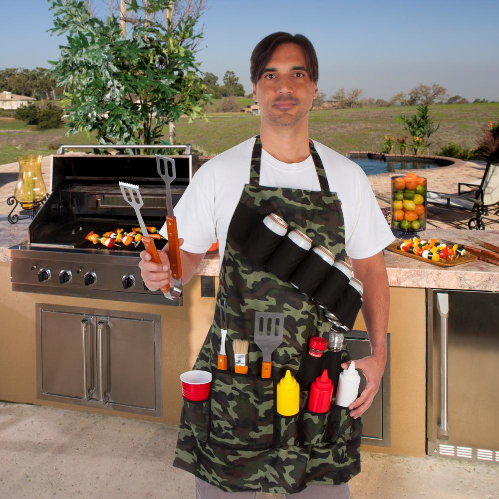 Grill Master Bbq.Ez Drinker Grill Master Grill Apron Holds Beverages And Tools In Camouflage