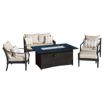 Astoria 5-Piece Love and Club Patio Fire Pit Seating Set with Slate Grey Cushions