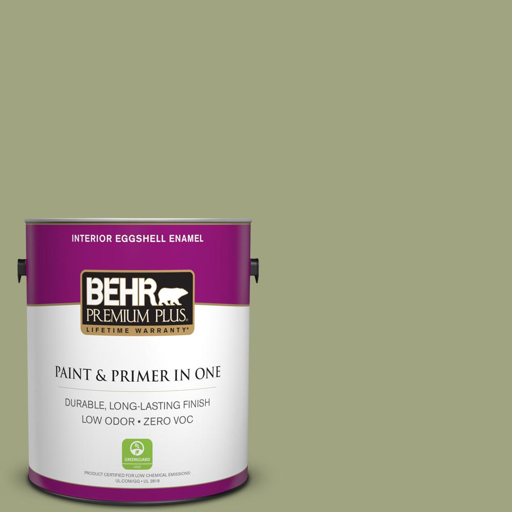 BEHR Premium Plus 1-gal. #410F-4 Mother Nature Zero VOC Eggshell Enamel Interior Paint