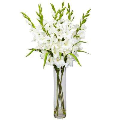 35 in. H White Large Gladiola with Cylinder Vase Silk Arrangement
