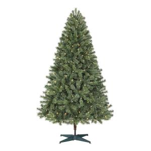 Deals on Home Accents 6.5 ft. Festive Pine Pre-Lit Artificial Christmas Tree