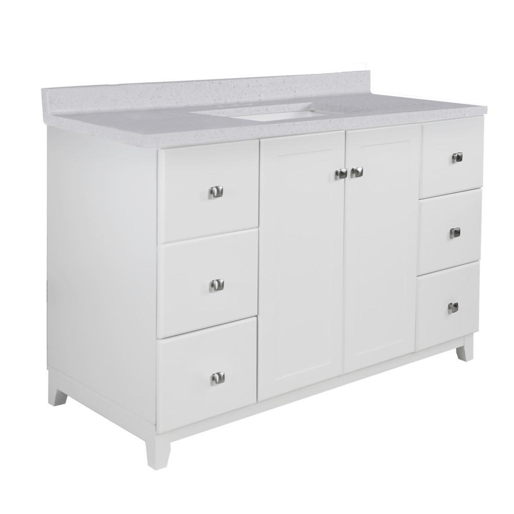 48 in. x 21 in. x 33 in. 2-Door 6-Drawer Bath Vanity in White w/ 4 in. Centerset CM Frost Vanity Top w/ Basin in White