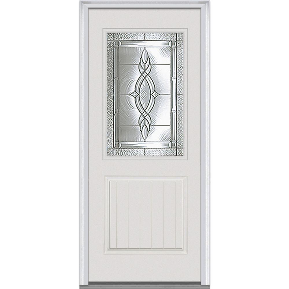 MMI Door 36 in. x 80 in. Brentwood Left-Hand 1/2 Lite 1-Panel Planked Classic Primed Fiberglass Smooth Prehung Front Door