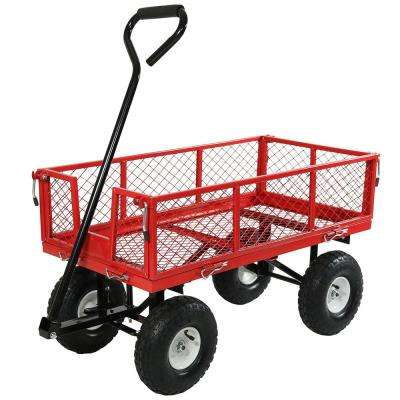Red Steel Utility Cart with Removable Folding Sides