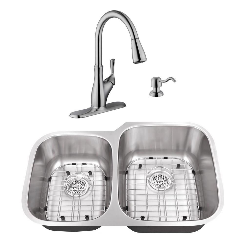 Cahaba Undermount Stainless Steel 32 in. 40/60 Double Bowl Kitchen Sink  with Brushed Nickel Faucet