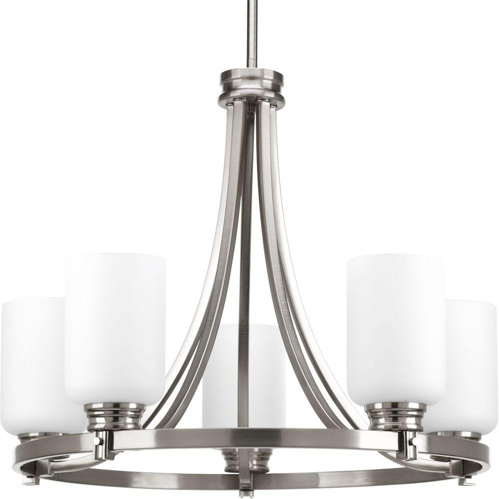 Progress Lighting Tally Collection 5 Light Brushed Nickel Chandelier Cheap Emergency Lights Using D313 Orbitz With Opal Etched Glass