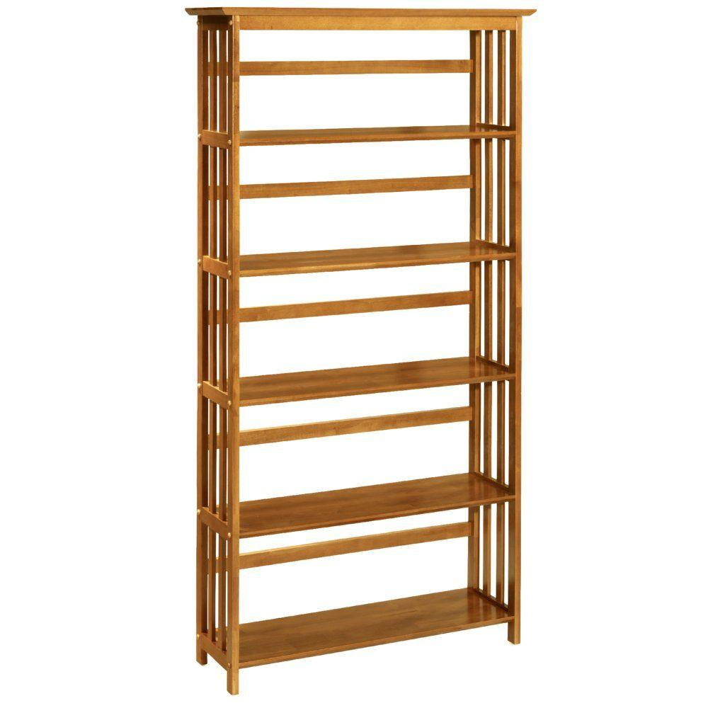 Home Decorators Collection Mission-Style 5-Open Shelf Bookshelf in Honey Oak