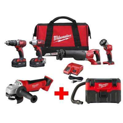 M18 18-Volt Lithium-Ion Cordless Combo Tool Kit (4-Tool) with Free M18 Cut-Off/Grinder and 2 Gal. Wet/Dry Vacuum