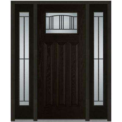 64 in. x 80 in. Madison Right-Hand Inswing 1/4-Lite Decorative Stained Fiberglass Oak Prehung Front Door with Sidelites